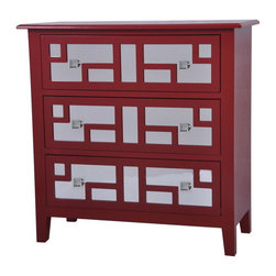 Crestview - Crestview CVFZR848 Roxy Bright Red 3 Drawer Mirrored Chest - Roxy Bright Red 3 Drawer Mirrored Chest Roxy Bright Red 3 Drawer Mirrored Chest 32*14*32 Accent Furniture   32*14*32