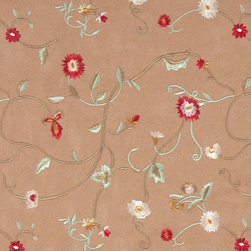 Brown Green Ivory Red Embroidered Vines Suede Upholstery Fabric By The Yard - P4521 is a heavy duty upholstery grade suede polyester fabric. This fabric is great for all indoor applications.