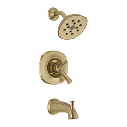 Delta - Addison Monitor 17 Series Tub and Shower Trim - Delta T17492-CZ Addison Monitor 17 Series Tub and Shower Trim with Volume Control, H2Okinetic Technology, Tub Spout and Single Function Showerhead in Champagne Bronze.