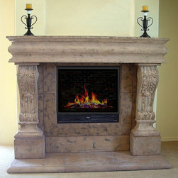 Raised Acanthus Cast Stone Mantel - Concrete cast stone fireplace mantel. Cast in antiqued sable with a heavy texture. Mantel legs are raised on pilasters to clear top of firebox.