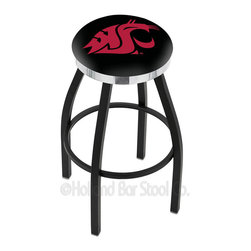 "Holland Bar Stool - Holland Bar Stool L8B2C - Black Wrinkle Washington State Swivel Bar Stool - L8B2C - Black Wrinkle Washington State Swivel Bar Stool w/ Chrome Accent Ring belongs to College Collection by Holland Bar Stool Made for the ultimate sports fan, impress your buddies with this knockout from Holland Bar Stool. This contemporary L8B2C logo stool has a single-ring black wrinkle base with a 2.5"" cushion and a chrome accent ring that helps the seat to ""pop-out"" at glance. Holland Bar Stool uses a detailed screen print process that applies specially formulated epoxy-vinyl ink in numerous stages to produce a sharp, crisp, clear image of your desired logo. You can't find a higher quality logo stool on the market. The plating grade steel used to build the frame is commercial quality, so it will withstand the abuse of the rowdiest of friends for years to come. The structure is powder-coated to ensure a rich, sleek, long lasting finish. Construction of this framework is built tough, utilizing solid mig welds. If you're going to finish your bar or game room, do it right- with a Holland Bar Stool. Barstool (1)"