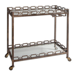 Uttermost - Nicoline Iron Serving Cart - This serving cart is a master of disguise. Finished with a brass patina, the forged iron cart can take a spin to your patio or poolside to serve drinks and appetizers. When not in butler use, store your barware, stemware and accessories on the tempered glass shelves.