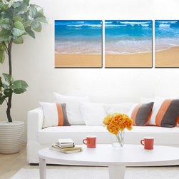 Beach Front - Copia Art offers affordable three-panel wall art for any type of interior wall space. We design each of our wall pieces by mounting beautiful hi-resolution images to high-quality, solid-wood panels. Our decorative wall-art sets are available in three different sizes and can be hung in commercial and office spaces as well as any area of the home. Panels are designed for durability and moisture resistance. Any piece can hang in bathrooms and kitchens without being damaged by heat and moisture.