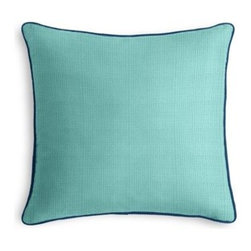 Bright Aqua Faux Linen Custom Outdoor Pillow - The Corded Outdoor Pillow with refined piped edging will add the classic finishing touch to your outdoor seating! whether porch swing or pool chair.  We love it in this super soft (yes, we're serious!) bright aqua faux linen.  So comfy it works indoors and out.