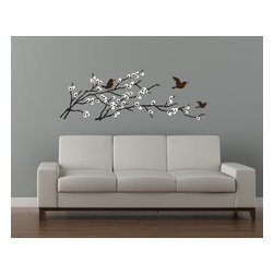 Cherry Walls - Birds & Blossoms Branch Decal - A symbol of all that spring brings, these pussy willow branches create a lovely focal point above your sofa, bed or dining area. The set includes two sprigs, which you can arrange close together or spaced apart. Choose from a variety of color combinations.