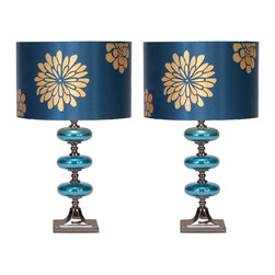 Aspire - Vernon Table Lamp - Set of 2 - Set of 2. These accents feature three glazed glass balls that match the shades. The lamp shades are elegantly designed with gold flowers on a shiny blue background. Metal and glass. Color/Finish: Blue, gold, silver. UL listed. Uses 60 watt max bulb. 23 in. H x 14 in. W x 14 in. D. Shade: 9 in. H x 14 in. W x 14 in. D. Weight: 6 lbs.