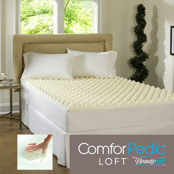 Simmons Beautyrest - Beautyrest Big Bump 3-inch Convoluted Memory Foam Topper - Big bump means big comfort. The ComforPedic Loft sculpted foam design provides support and additional air flow for comfort. Memory foam is designed to reduce motion transfer and distribute weight evenly to help relieve stress points and muscle tension.