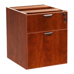 Boss - 2 Hanging Pedestal - 3/4 Box/File - Cherry - The 3/4 pedestal features a file and box drawer. It can be used with any of the series desk shells Finished in Cherry laminate