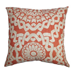 """The Pillow Collection - Juneil Geometric Pillow Red White 18"""" x 18"""" - Finish off your interiors with this fun home accessory. A geometric pattern in white is set against a red background, giving it a lovely contrast. This striking pillow is a great statement piece for your sofa, bed or chair. This 100% cotton-made pillow is easy to clean and maintain. Mix and match other textures with this 18"""" pillow. Hidden zipper closure for easy cover removal.  Knife edge finish on all four sides.  Reversible pillow with the same fabric on the back side.  Spot cleaning suggested."""