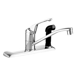 American Standard - American Standard 4175.203.002 Colony Kitchen Faucet w/Handspray, Chrome - This American Standard 4175.203.002 Colony Single Control Kitchen Faucet with Connected Color-Matched Handspray is part of the Colony collection, and comes in a beautiful Chrome finish. This single control kitchen faucet comes with a metal lever handle, and a color-matched side-spray that is mounted on the right side of the faucet.