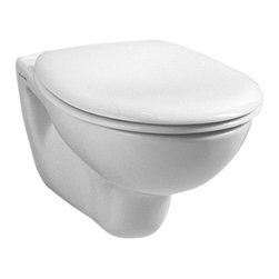 Vitra - Modern Round White Ceramic Wall Hung Bathroom Toilet with Seat - Contemporary white ceramic wall hung bathroom toilet with included seat. Trendy wall mounted toilet and seat is perfect for commercial or residential use. Bathroom toilet has 4.5 liter flush volume. Requires Geberit concealed tank and carrier (ref. 111.335.00.5) and Geberit white or chrome sampa flush plate (ref. 115. 770.11.5, ref. 115.770.21.5). Made in Turkey by Vitra. Ceramic wall hung toilet and toilet seat included. Actuator and tank must be purchased separately. For use in commercial or residential bathrooms. Water-saving. Made from high quality, white ceramic. Toilet seat is not soft closing. Requires Geberit tank and carrier, samba flush plate. From Vitra's Normus collection. Made in Turkey.
