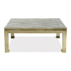 Brownstone Furniture Treviso Square Coffee Table - German silver, widely used by the 19th century Plains Indians for jewelry, is a striking material that we have chosen for our Treviso occasional tables. All surfaces are fully covered by this historical silver substitute that is artfully applied by petite finishing nails. The result are rich, but unique tables that make for a collector's dream. Made in India.