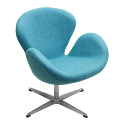 IFN Modern - Swan Inspired Chair-Blue - Cashmere Wool - The Swan Chair was originally created by the Danish designer and architect Arne Jacobsen for the prestigious Amsterdam Royal Hotel. Jacobsen's original design was created in 1958 and his artistic vision is represented in this piece- he was motivated by the movement to adapt more organic forms into contemporary interior design. The Swan Chair simultaneously boasts an element of elegance and comfort. The shape of this chair adds intrigue to a variety of spaces with its light, airy appearance and at the same time it's beautiful shape invites one to feel relaxed. â— Product is upholstered in 100% Full Grain Italian Leather, 100% Full Grain Aniline Leather or Fabric (Cashmere or Tweed)â— Base is polished stainless steelâ— Available in multiple colorsâ— Chair comes with foot protectors â— 360 degree swivel