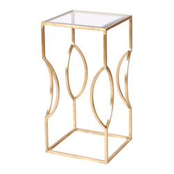 Worlds Away - Worlds Away Square Occasional Table in Champagne Silver Leaf�TULIP S - Square occasional table champagne silver leaf with clear glass top.