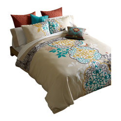 Blissliving Home - Shangri-la Duvet Set, King - It's all right to be fickle in the bedroom — when it comes to your linens, at least! This duvet cover and pillow shams set, woven of imported 300 thread count cotton, features a bold medallion print on one side and a complementary pattern on the flip.