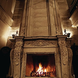 Aged Stone fireplaces - recent aged stone fireplace surrounds and mantels installed in new homes and remodeling projects