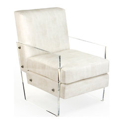 Kathy Kuo Home - Modern Art Deco Ivory Faux Leather Acrylic Club Chair - The classic club chair meets its match with retro Hollywood styling of clear acrylic and faux leather hide.  From afar, this sizable chair's grey-white upholstered cushions appear to float within your room.  Sink into luxury as you peruse a stack of film scripts (or perhaps just the day's mail) in your contemporary home. Made to order: please allow 3-4 weeks lead time for production.