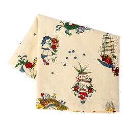 Sin in Linen - Flash Tattoo Tea Towel - Wear your tattoos without the pain. These tattoo kitchen linens feature flash style images of pinups, panthers, pirate ships and more.