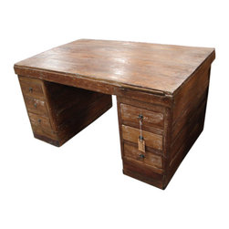 Double Sided Writing Desk - Double Sided Writing Desk! So cool! Lots of writing space here with this unique Writing Desk. Big enough for your office suite at work and just small enough for the home office. One side has cabinets, one side has drawers, and both sides have a pull out writing tray.Very unique!!Approx