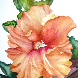 Vibrant Hibiscus, Original Watercolor - There is so much to love about watercolor.  All of the shades and no color at all, with endless possibilities, even with only one image, we could explore it in infinite ways. Choice of original watercolor or giclee print.