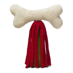 Arcadia Home - Dog Bone Christmas Tree Topper - Dog Bone tree topper. Hand felted and hand appliqued of 100% wool.