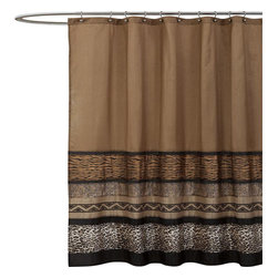Lush Decor - Tribal Dance Brown Shower Curtain - Includes 1 Shower curtain. Fabric Content:100% Polyester. Care Instructions: Dry clean. 72 in. W x 72 in. H This is the shower curtain that will change an ordinarily bathroom into something unique and special. The combined animal skins made from brushed poly and plush fabric blend so beautifully together with every color and shade incredibly vibrant. And because of the variety of colors it will be so much easier to find accessories and towels that work well with it.