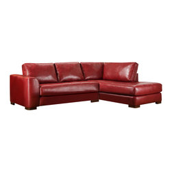 Chelsea Home - 2-Pc Salem Sectional Set - Includes right arm facing chaise and left arm facing sofa. Ottoman not included. Como bold red cover. Medium seating comfort. Reversible seat cushion. Nailed, stapled and corner blocked frame. 1.8 dacron wrapped foam cores with outside padding on arms and back for added comfort. Constructed with sinuous springs to provide no sag seating. Made from bonded leather, solid hardwoods and plywoods. Made in USA. No assembly required. Chaise: 80 in. L x 38 in. W x 37 in. H (175 lbs.). Sofa: 72 in. L x 38 in. W x 37 in. H (125 lbs.). Overall: 110 in. - 80 in. L x 38 in. W x 37 in. H (300 lbs.)