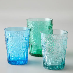 "Horchow - ""Fleur-de-Lis"" Glassware - Handcrafted glassware in enticing aquatic colors. Made in Portugal. Dishwasher safe. Select color when ordering. Highballs, 4""T; hold 7.4 ounces. Juice glasses, 3.5""T; hold 5.7 ounces."