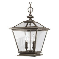 Thomasville Lighting - Thomasville Lighting Crestwood Transitional Outdoor Hanging Light X-02-2093P - The essence of traditional gas lanterns with updated styling. Lanterns can be used in traditional setting, such as in outdoor covered settings or porches, but also are ideal for use in foyers and entryways. Clear beveled glass panels are framed in metal finished in antique bronze or silver burnished finishes.