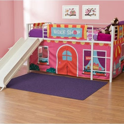 Dorel Home - BakeShop Junior Fantasy Loft with Slide - White - AMW597 - Shop for Bunk Beds from Hayneedle.com! The BakeShop Junior Fantasy Loft with Slide - White is a treat your little girl can enjoy every day. The durable metal construction features a clean white finish for a chic look. The included guard rails provide safety while the slide gives a playful element she's certain to love. The themed tent creates a cozy play area under the bunk and can be removed to be laundered or stored as your child grows up. Uniquely charming this loft bed is made just for her.About Dorel IndustriesFounded in 1962 Dorel Industries is a family of over 26 brands including bicycle brands Schwinn and Mongoose baby lines Safety 1st and Quinny as well as home furnishing brands Ameriwood and Altra Furniture. Their home furnishing division specializes in ready-to-assemble pieces including futons microwave stands ladders and more. Employing over 4 500 people in 17 countries and over four continents Dorel is renowned for their product diversity and exceptionally strong commitment to quality.We take your family's safety seriously. That's why all of our bunk beds come with a bunkie board slat pack or metal grid support system. These provide complete mattress support and secure the mattress within the bunk bed frame. Please note: Bunk beds and loft beds are only to be used by children 6 years of age or older.