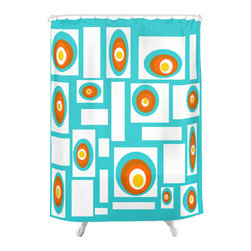 Crash Pad Designs - Crash Pad Designs 50's inspired Shower Curtain - Outfit your bathroom with this playful shower curtain for a pop of color. Geometric design is printed on machine washable woven polyester, which features 12-stitched button holes for hanging. liner and rings are not included.