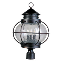Maxim Lighting - Maxim Lighting 30501CDOI Portsmouth 3 Light Post Lights & Accessories in Oil Rub - Portsmouth is a traditional, early American style collection from Maxim Lighting International in Oil Rubbed Bronze finish with Seedy glass.