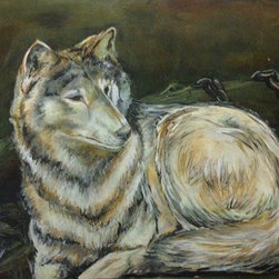 Broken Silence. (Original) by Ayah Alrabbat - The wolf is a personification of who we are. The world around us has gone through so many changes, through a number of crisis reflecting each and every one of us. Breaking the Silence. I applied dry brush strokes to add texture with an earth toned palette on hardboard.