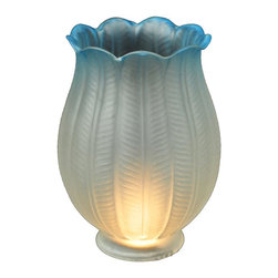 Meyda Tiffany - Lotus Shade in Frost Blue finish - Victorian theme. 3.75 in. Dia. x 5 in. H