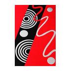 Rug - ~5 ft. x 8 ft. Geometric Black/Red/White Living Room Area Rug, Machine Made - Living Room Hand-tufted Shaggy Area Rug