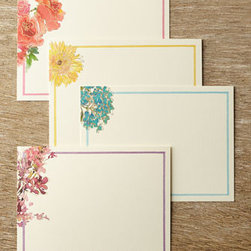 Horchow - William Arthur Watercolor Floral Flat Notes - Stunning beautiful and meticulously crafted, these exquisite flat cards feature delicate floral portraits executed in lithography-printed watercolor and accented with gold-foil embellishment. Each card features a complementary narrow border to complet...