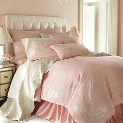 """Callisto Home - Callisto Home Queen Dust Skirt - A contemporary interpretation of Renaissance inspiration, pink and ivory """"Aphrodite"""" bed linens, made of linen, are enhanced with rayon embroidery. By Callisto Home. Duvet covers are adorned with velvet appliques and rayon embroidery. Gathered pink...."""