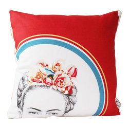 reStyled by Valerie - Frida Kahlo Modern Cushion Cover, Colorful Pillow Cover, Yellow, With Insert - Decorative pillow featuring a peekaboo image of the enigmatic and wonderfully intriguing Frida Kahlo.