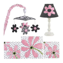 Cotton Tale Designs - Girly Decor Kit - A quality baby bedding set is essential in making your nursery warm and inviting. All Cotton Tale patterns are made using the finest quality materials and are uniquely designed to create an elegant and sophisticated nursery. The Girly Decor Kit includes Wall Art, Standard Lamp, and Mobile. Girly wall art is a triptych style. Three pieces measuring (2) 12 x 12 and (1) 16 x 16. Girly standard antique lamp base and shade measures 19 inches in height. Shade in black pin dot with applique flower measures 8 x 9 x4. Shade made in the USA. Manufacturer recommends no more than a 60 watt bulb. Girly musical mobile has full fun flowers in black and pink. Dancing around the black and white canopy with pink sleeve over. Wind up mechanism plays Brahms Lullaby. Basic assembly required. Mobiles are not toys and should be removed from crib when baby starts to sit up and pull up. Spot clean or dust all items.