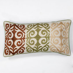 KAS Oriental Rugs - Multicolor Damask 12 x 20-Inch Rectangular Decorative Pillow - - Handmade of 70% Cotton and 30% Linen with Embroidery  - Fill Material: Polyester Fiber  - Spot clean only with mild detergent and water. Test a small area first.  - The coordinating pillows will complete the look! See the companion items listed below KAS Oriental Rugs - PILL17112X20