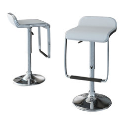 Sonax - Sonax CorLiving Bar Stool with Footrest in White Leatherette(Set of 2) - Sonax - Bar Stools - B612VPD - Style your home with this inviting 2 piece White bar stool set from our new CorLiving Collection. This pair is the perfect way to relax indoors. Height adjustable and easy to wipe clean the soft leatherette seat is highlighted with a durable chromed gas lift and base. Simple rolled edges and polished chrome complete the contemporary design. Featured in a black this 2 piece set is a great way to make the most of your indoor bar space.