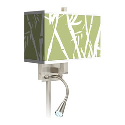"""Giclee Glow - Asian Lush Bamboo Giclee LED Reading Light Plug-In Sconce - This giclee shade wall sconce has a clean crisp look and contemporary appeal. It features a giclee printed pattern on high-quality canvas. The angular frame comes in a lustrous brushed steel finish. Installation is easy: just plug it in to any standard wall outlet. It's perfect beside a bed or a reading chair thanks to the energy efficient gooseneck LED reading light. Reading light and main light are controlled separately. This item is custom made-to-order. Brushed nickel finish. Giclee shade. Plug-in style. Takes one 60 watt bulb (not included). Gooseneck light with 12 LED array. 13 1/2"""" high 14"""" wide. Extends 6 1/4"""" from the wall. Gooseneck LED with 10 1/2"""" extension. Backplate is 5"""" wide 9"""" high 1 1/4"""" deep. Shade is 14"""" wide 5"""" deep and 8 1/2"""" high. U.S. Patent # 7347593.  Brushed nickel finish.  Exclusive Lush Bamboo pattern giclee-printed shade.  Plug-in style.  Brushed nickel finish cord cover included.  Takes one 60 watt bulb (not included).  Gooseneck light with 12 LED array.  13 1/2"""" high 14"""" wide.   Extends 6 1/4"""" from the wall.   Gooseneck LED with 10 1/2"""" extension.   Backplate is 5"""" wide 9"""" high 1 1/4"""" deep.   Shade is 14"""" wide 5"""" deep and 8 1/2"""" high."""