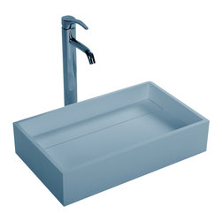 ADM - ADM Matte White Countertop Stone Resin Sink - Keep it simple. This stone resin sink is just what you need for your minimalist bathroom. With clean lines and a white matte finish, this rectangular basin is as straightforward as you can get.