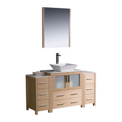 """Fresca - 54"""" Light Oak Vanity w/ 2 Side Cabinets & Vessel S Soana Brushed Nickel Faucet - Fresca is pleased to usher in a new age of customization with the introduction of its Torino line.  The frosted glass panels of the doors balance out the sleek and modern lines of Torino, making it fit perfectly in eithertown or country decor."""