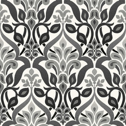 Brewster - 2535-20648 Fusion Ombre Damask Black And White Art Deco Wallpaper - Coated in a luxe onyx hue, this glamorous damask wallpaper brings high-fashion to walls with a posh ombre effect and sleek grey accents.