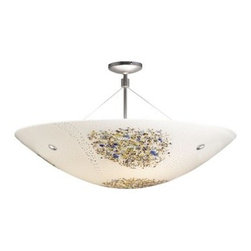 """LBL Lighting - LBL Lighting Veneto Semi-Flush Opal 3 Light Ceiling Fixture - LBL Lighting Veneto Semi-Flush Opal 3 Light Ceiling FixtureFeaturing genuine Italian Murano handmade Opal glass with delicate frit accent patterns and real inlaid silver flakes, this exquisite 16.5"""" semi-flush ceiling fixture will add a touch of class and style to any home or business. Install this fixture in level or sloped ceilings up to 45 degree steep with the special built in canopy. Add three 60 watt or equivalent incandescent or fluorescent bulbs to provides ample lighting for this splendid fixture.LBL Lighting Veneto Semi-Flush Opal Features:"""