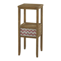 Powell - Powell Squiggly Dee Accent Table X-962-111 - The Squiggly-Dee collection of accent furniture combines rustic and trendy in our driftwood and distressed painted chevron finishes. The Squiggly-Dee accent table is a piece that is classic, yet adds a touch of whimsy with the bright color and pattern. This wood table has a shelf space for decor items and a small drawer with a white and antique gold knob. With an all-over driftwood finish, the drawer stands out, being the only painted portion - the colors are in a fun white and red chevron pattern. It is part of the Squiggly-Dee line that includes a side table, an accent table, a 12-Drawer console, a wood tray, and a high chest.