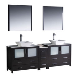 """Fresca - Fresca Torino 84"""" Modern Double Sink Bathroom Vanity w/ One Side Cabinet & Two V - Fresca is pleased to usher in a new age of customization with the introduction of its Torino line. The frosted glass panels of the doors balance out the sleek and modern lines of Torino, making it fit perfectly in either Town or Country dcor."""