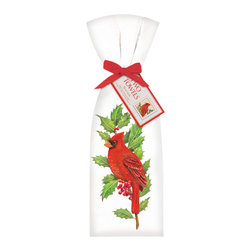 Mary Lake-Thompson Ltd. - Cardinal Towel, Set of 2 - Celebrate the season with these festive flour sack kitchen towels. The colorful set of two will cheer any kitchen and infuse you with the holiday spirit.