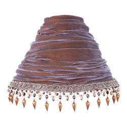 Brandi Renee Designs - All Lit Up Subtle Bohemian Lamp Shade - Our All Lit Up Subtle Bohemian lampshade features a rich brown velvet fabric and blue brown beaded trim. It's an ideal blend of luxurious texture and delicate beadwork for an upscale yet playful statement piece that's perfectly at home in any room of the house. Like every BRDesign lampshade, our All Lit Up Subtle Bohemian lampshade is handcrafted from the finest quality materials.